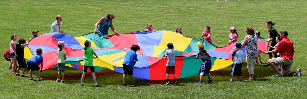 Hardyston Elementary School field day parachute game
